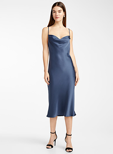 Draped-neck slip dress