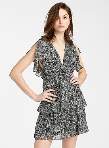 Icône Black and White Tiered ruffle spotted dress for women