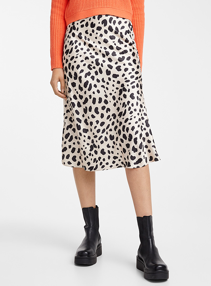 Icône Patterned Ecru Leopard satin skirt for women