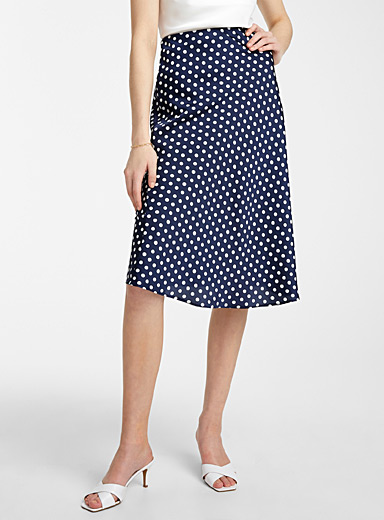 Satiny polka dot skirt