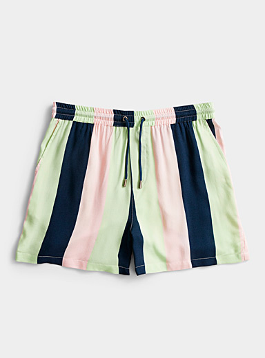 Native Youth: Le short fluide rayures pastel Assorti pour homme