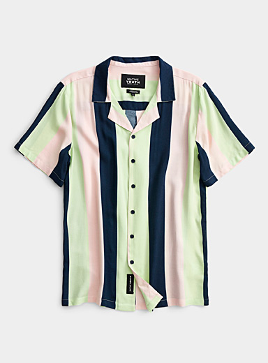 Native Youth Assorted Pastel stripe camp shirt for men