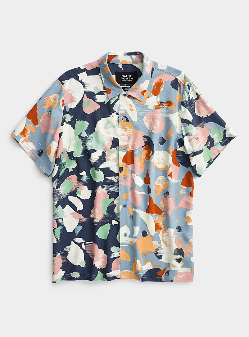 Native Youth Patterned Blue Pastel camo shirt for men