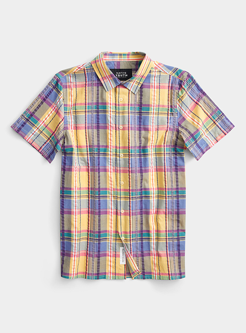 Native Youth Assorted Lemon madras check shirt for men