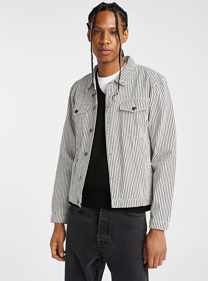 Native Youth Black and White Contrast-stripe jean jacket for men