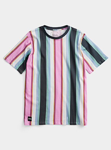 Native Youth Marine Blue Pastel accent stripe T-shirt for men