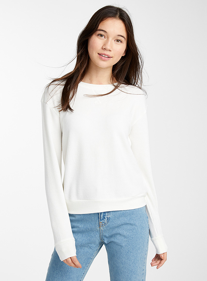 Twik White Crew-neck waffle sweatshirt for women