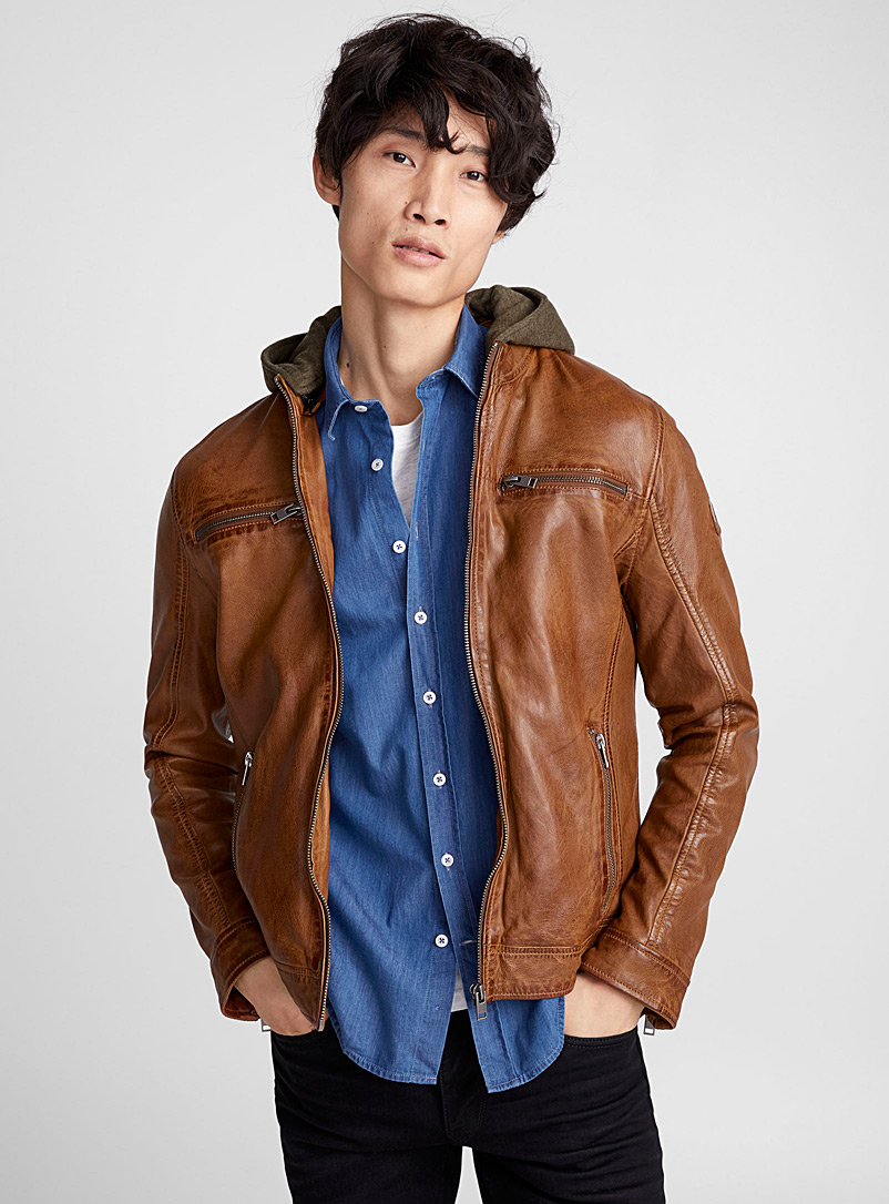 Hooded leather jacket - Leather & Suede Jackets - Toast