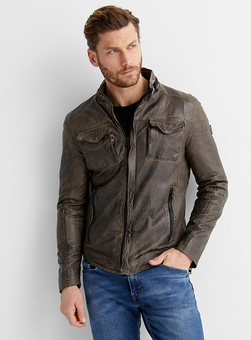 Le 31 Light Brown Vintage leather jacket for men