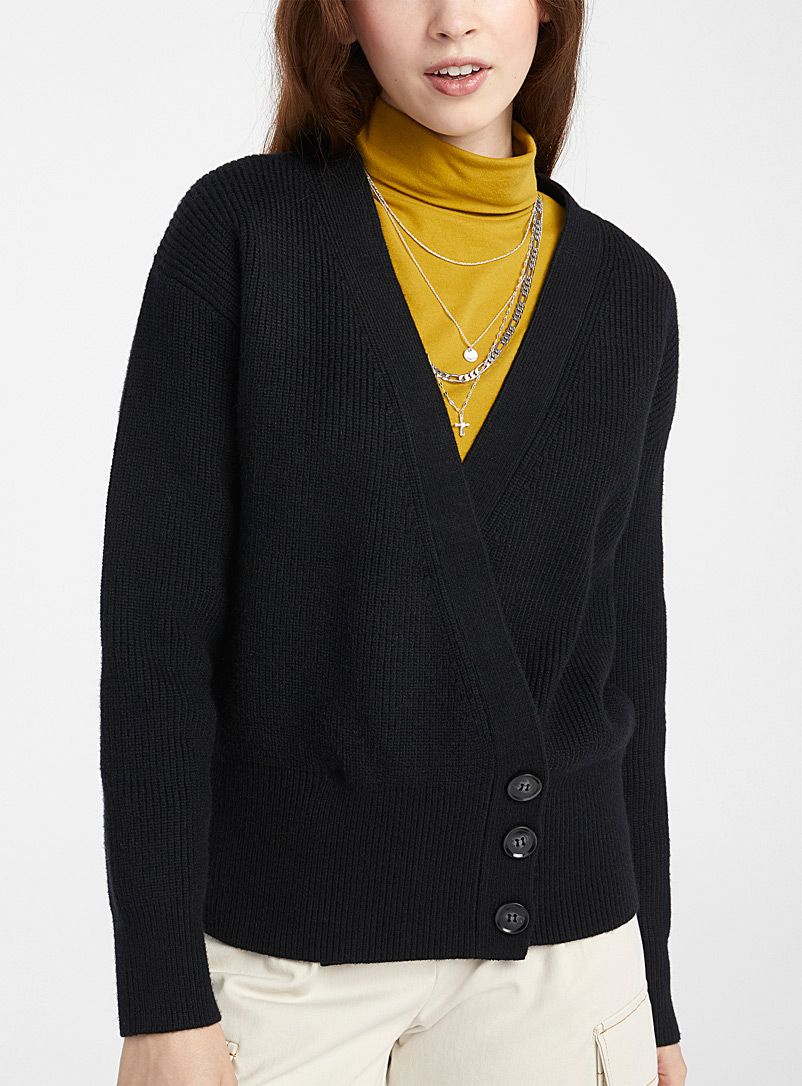 Pepaloves Black Black crossover buttoned cardigan for women