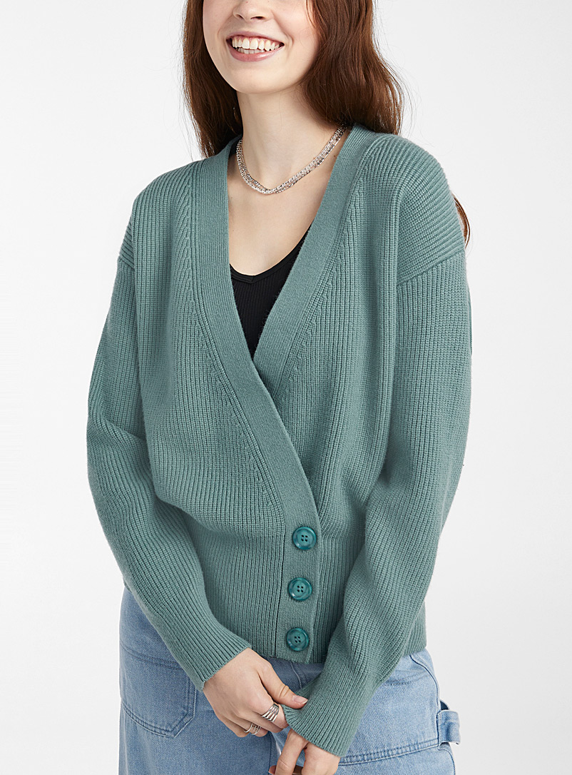 Pepaloves Green Mint crossover buttoned cardigan for women