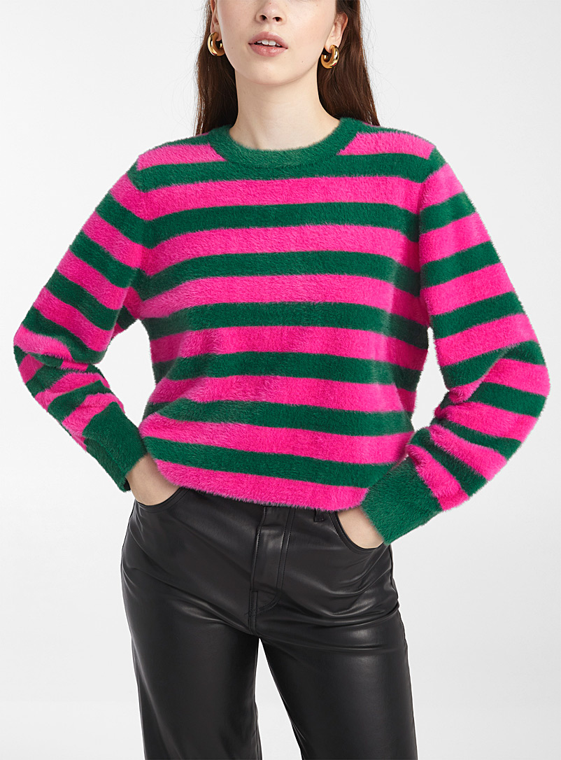 Pepaloves Green Pop-stripe fuzzy sweater for women
