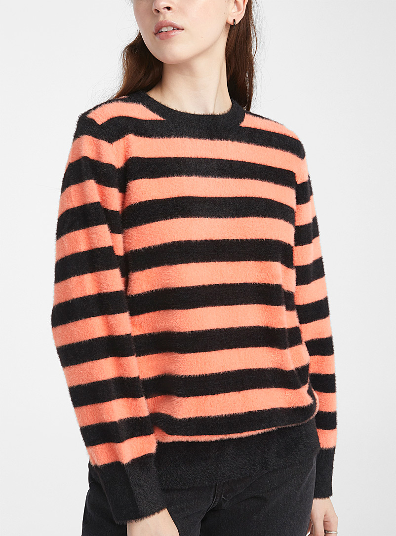 Pepaloves Black Coral-stripe fuzzy sweater for women