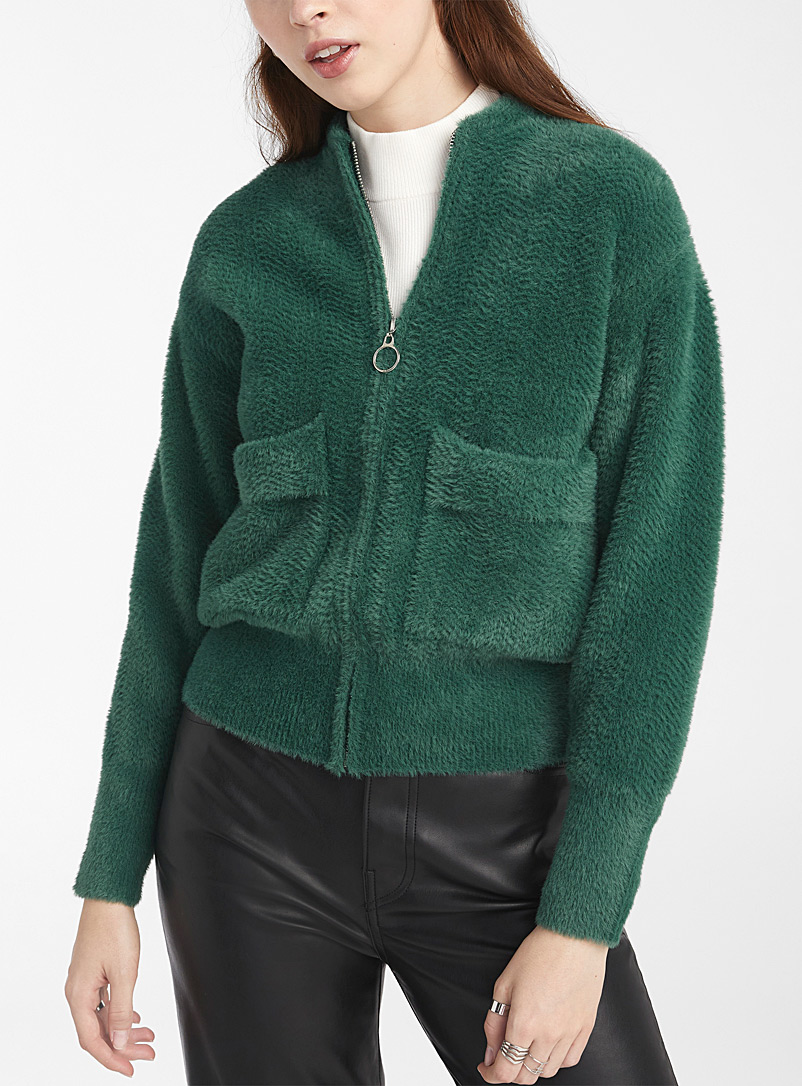 Pepaloves Green Fuzzy green utility bomber jacket for women