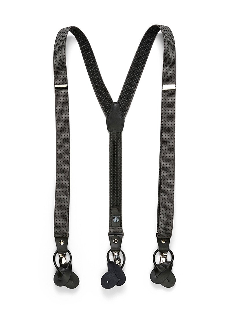 Lindenmann Grey Polka dot suspenders for men