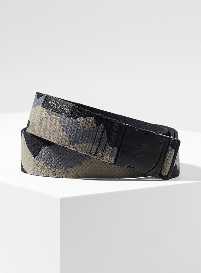Arcade Patterned Grey Ranger belt for men