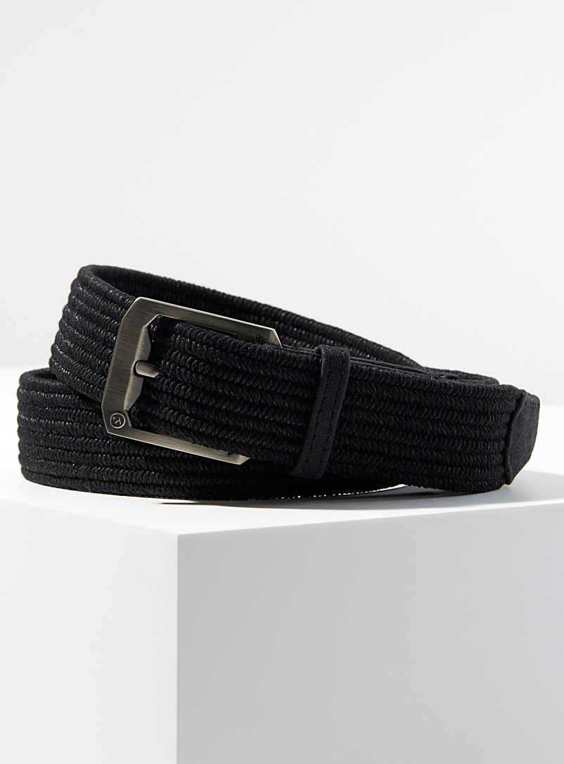 Waxed cotton woven belt - Casual - Black