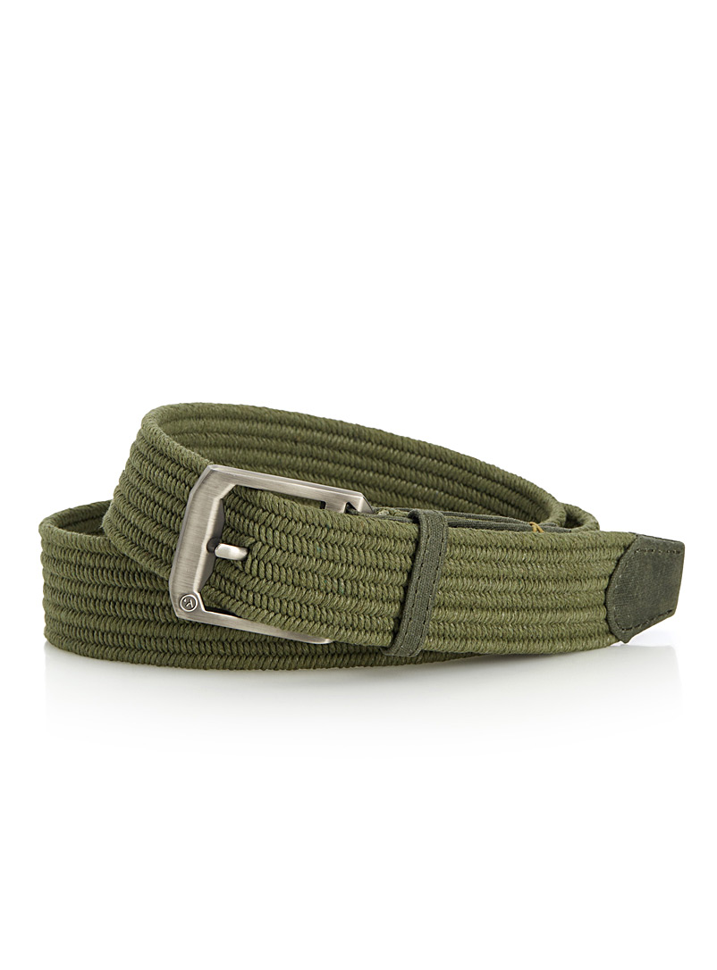 Waxed cotton woven belt - Casual - Bottle Green