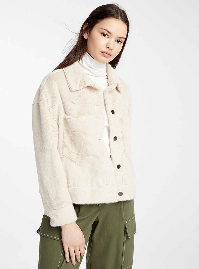 Twik Ivory White Faux-fur utility jacket for women