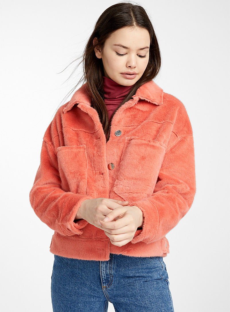 Twik Coral Faux-fur utility jacket for women