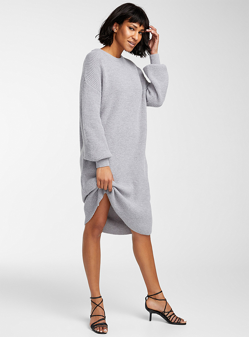 Icône Grey Oversized sweater dress for women