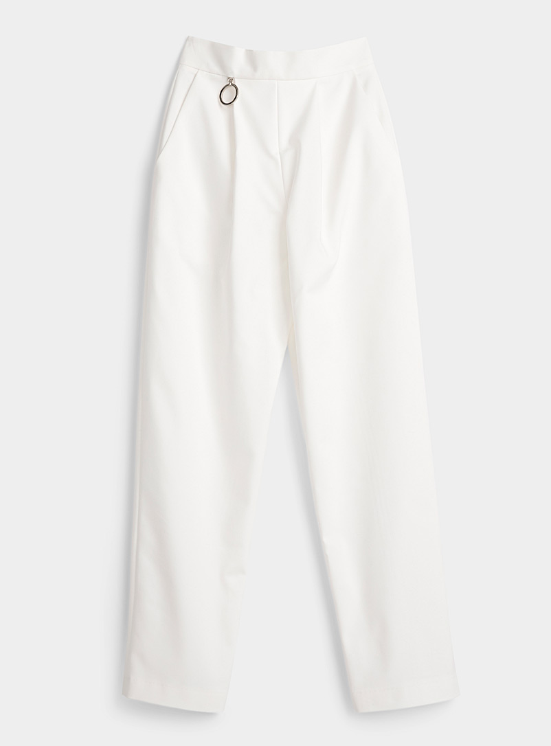 Sid Neigum Ivory White White ring pant for women