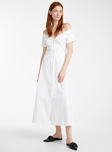 Sid Neigum White Off shoulder bustier dress for women