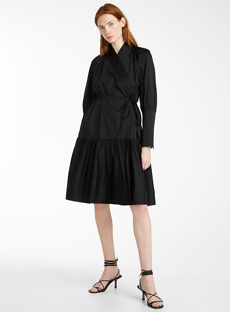 Sid Neigum Black Ruffle wrap dress for women