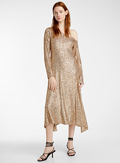 Sid Neigum Golden Yellow Off-the-shoulder dress for women