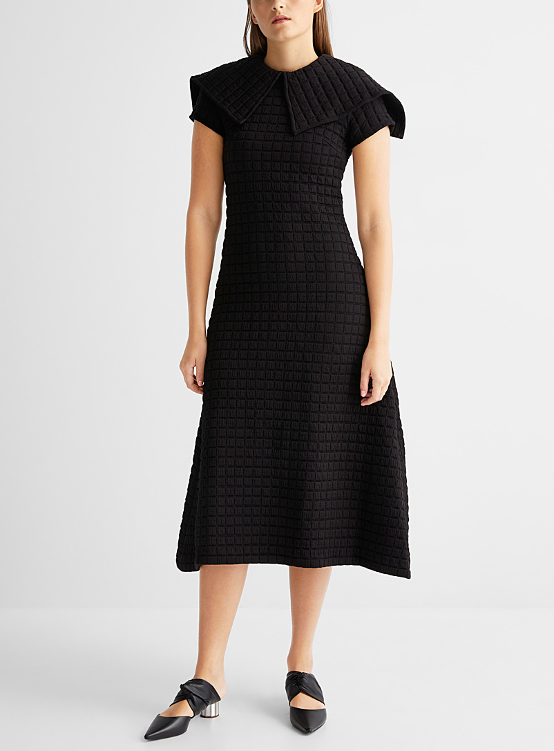 Sid Neigum Black Quilted plaid knit dress for women