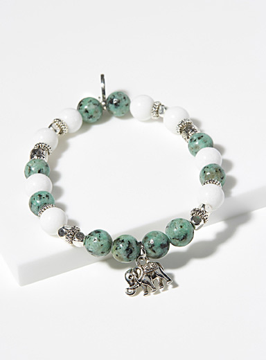 Amazonite and elephant bracelet