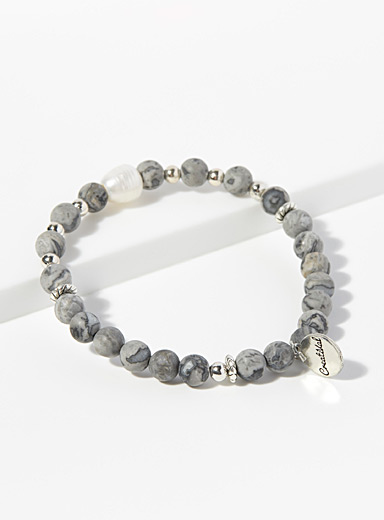 Marble grey and mother-of-pearl bracelet