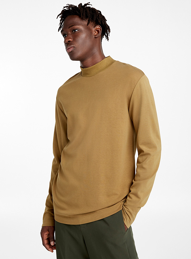 Comfort stretch mock neck - Long sleeves - Light Brown