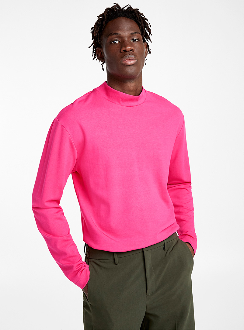 Comfort stretch mock neck - Long sleeves - Pink