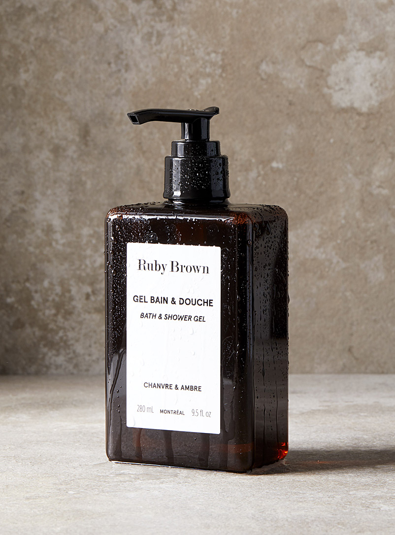 Ruby Brown White Hemp and amber bath and shower gel for men