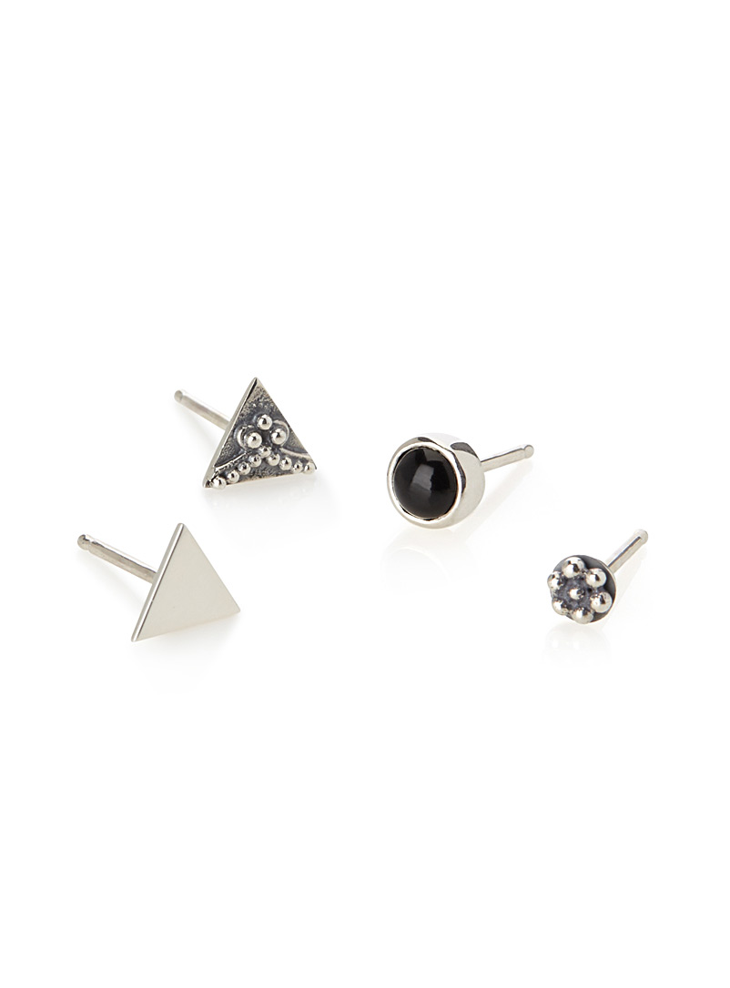 Mimi + Marge Dragée, Onyx and triangle earrings Set of 4