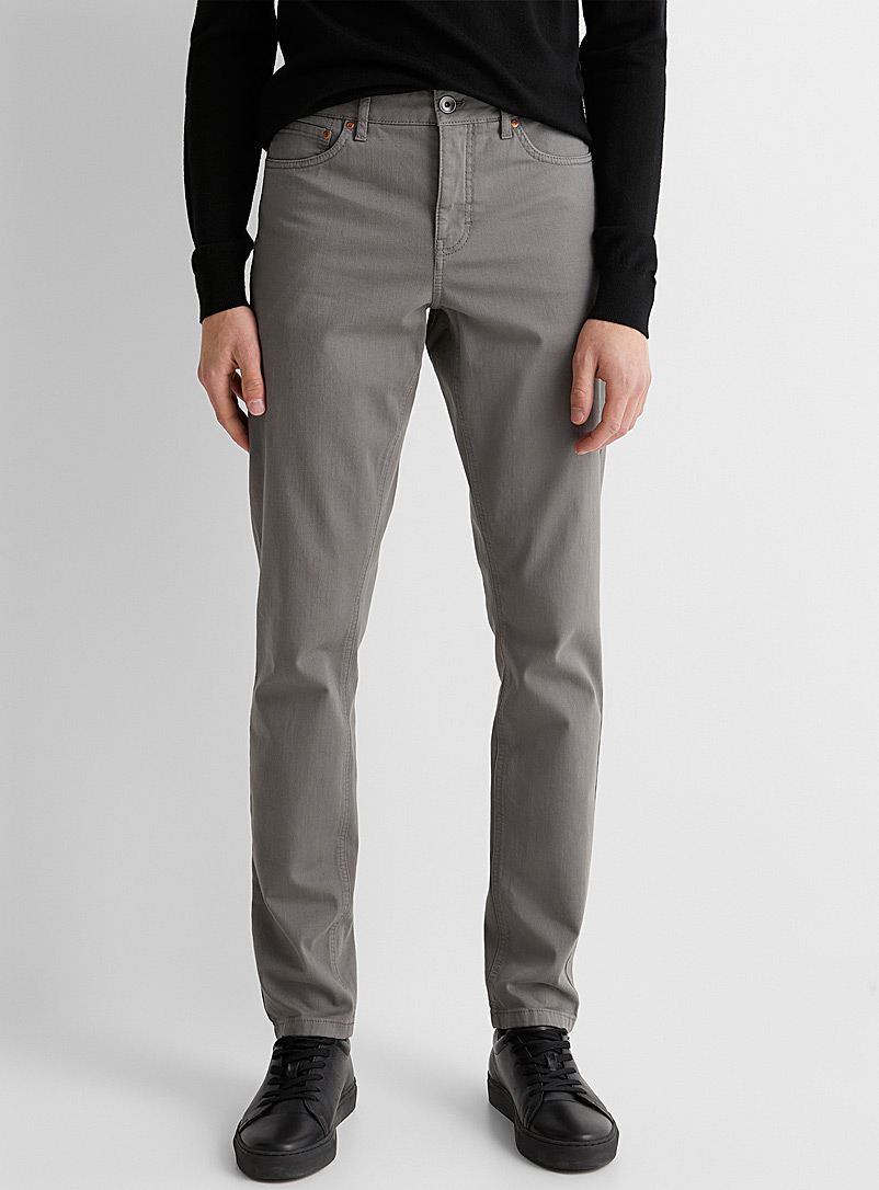 Le 31 Grey 5-pocket stretch organic cotton pant  Stockholm fit-Slim for men