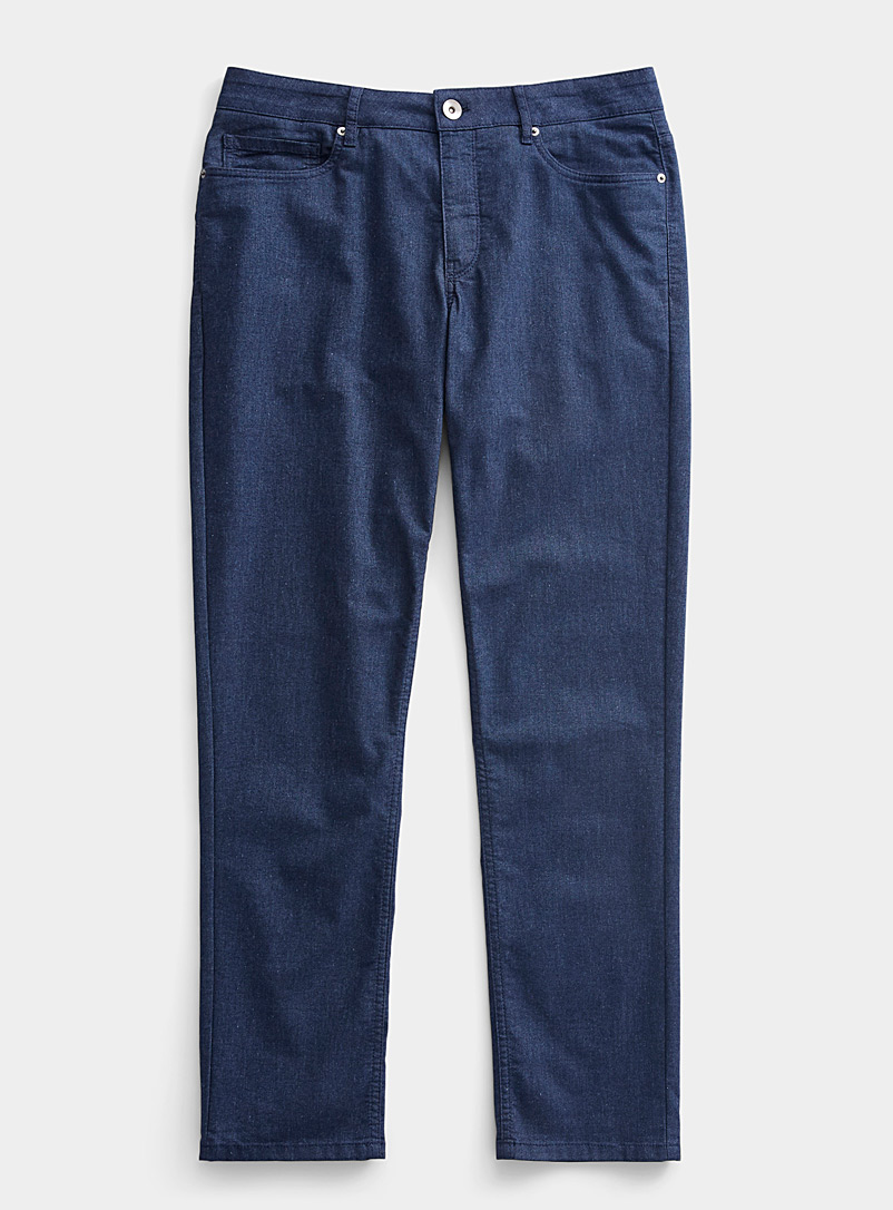Le 31 Marine Blue Lightweight heathered indigo eco jean  London fit-Slim straight for men