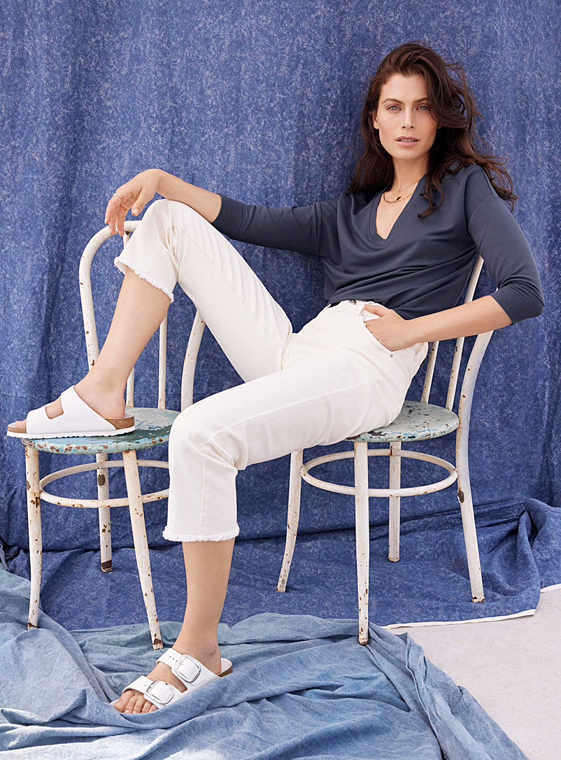 Contemporaine Ivory White Beige organic cotton relaxed jean for women