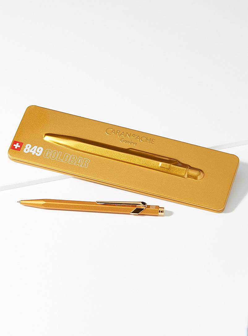 Caran d'Ache Golden Yellow 849 ballpoint pen with case for men
