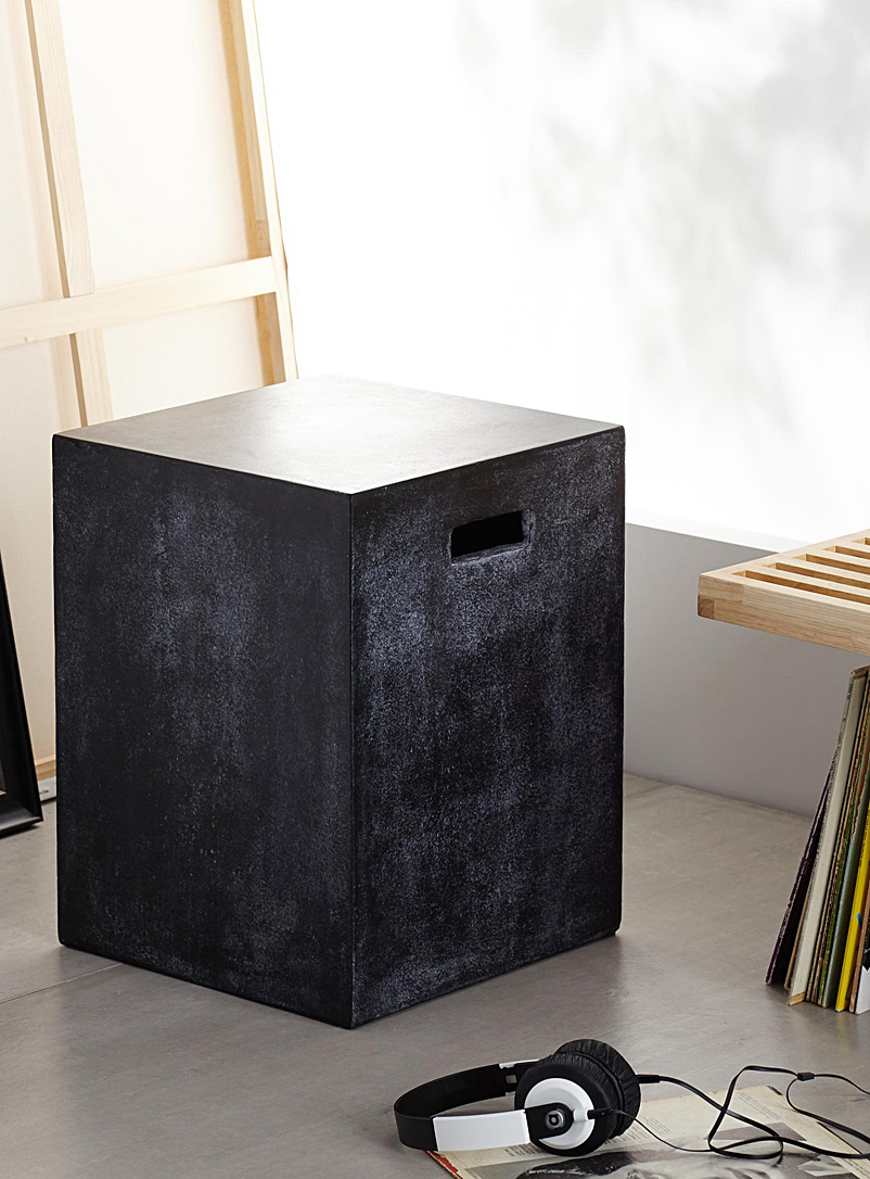 Concrete cube end table - Chairs, Stools & Benches - Black