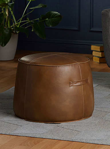 Faux-leather round pouf