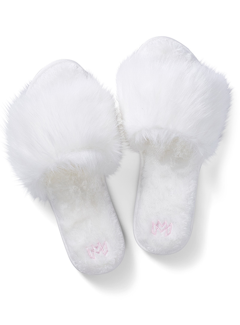 Malvados Ivory White Slumber slide slipper for women