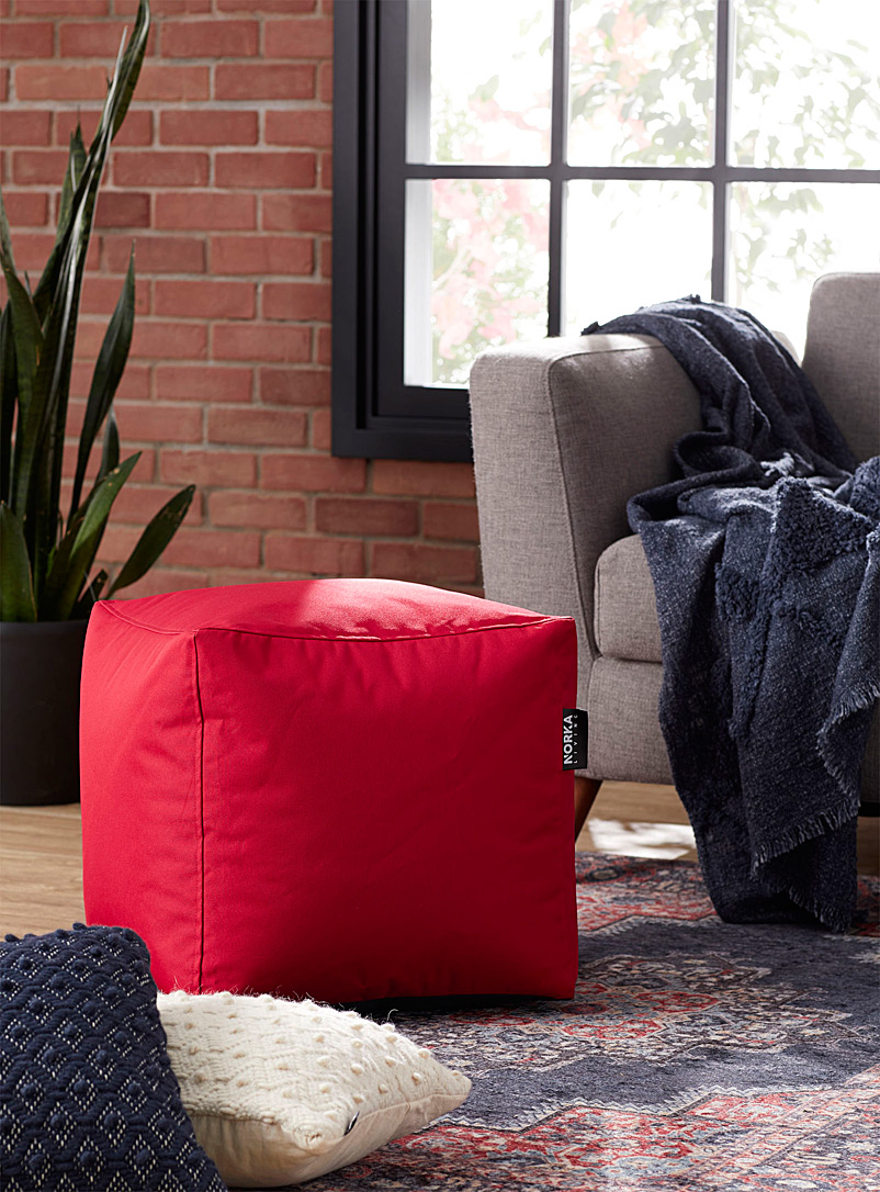 Norka Living Red Vibrant colour pouf