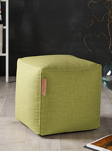 Canvas cube pouf