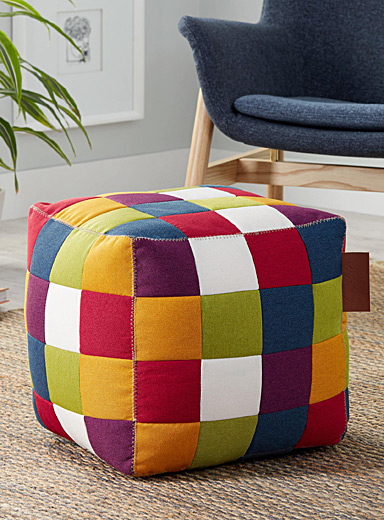 Multicolour patchwork pouf