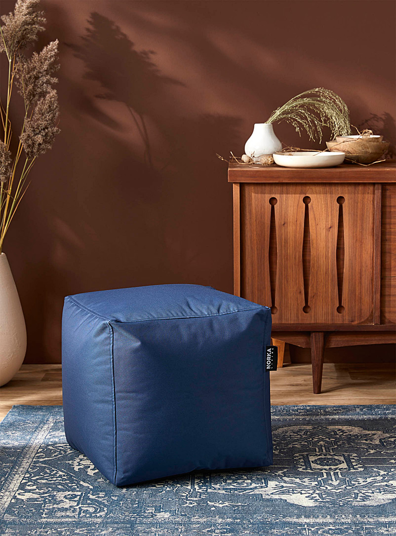 Norka Living Marine Blue Colourful cube pouf