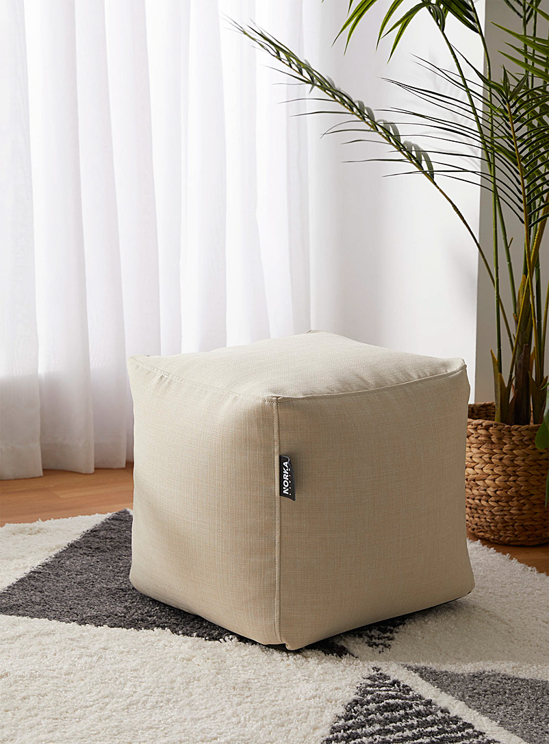 Norka Living Cream Beige Heathered colour pouf