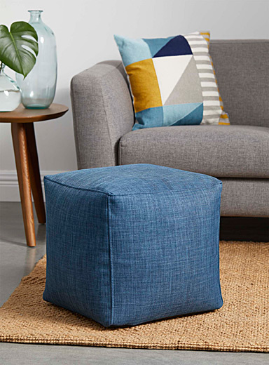 Colourful canvas pouf