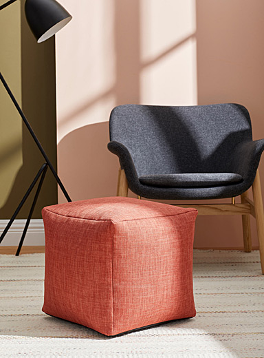 Norka Living: Le pouf canevas coloré Orange